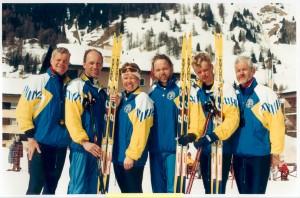 Den svenska skidtruppen i Davos 1999.